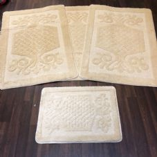 ROMANY WASHABLES GYPSY MATS 4PC SETS NON SLIP SWIRL DESIGN CREAM IVORY CARPETS
